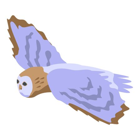 Flying owl icon. Isometric of flying owl vector icon for web design isolated on white background