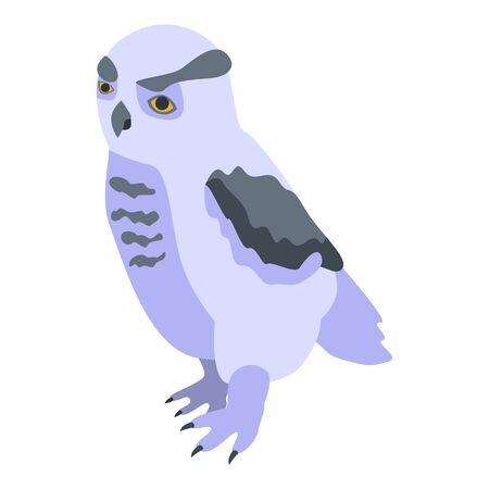 Smart owl icon, isometric style