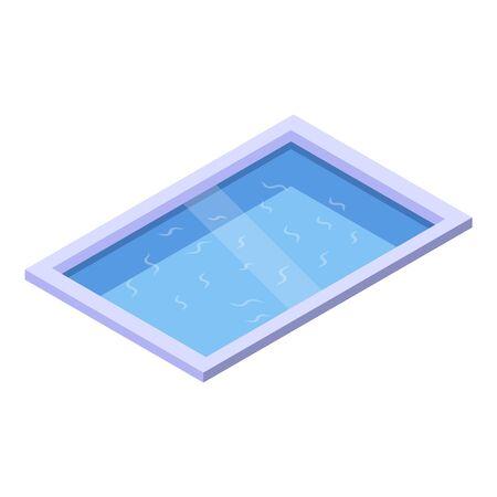 Garden pool icon, isometric style