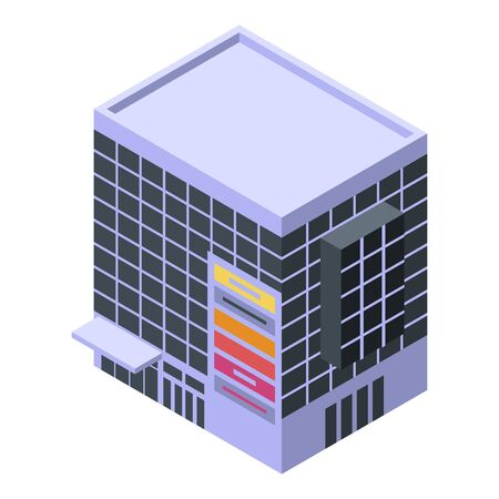 Construction mall building icon, isometric style Vectores