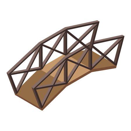 Wooden bridge icon, isometric style 矢量图像
