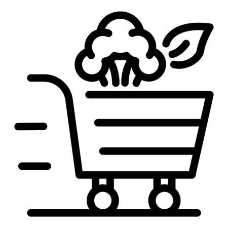 Veggies shopping icon, outline style