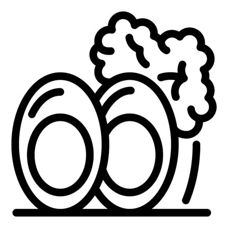 Boiled eggs icon, outline style 向量圖像