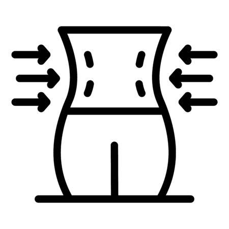 Body waist icon, outline style Vettoriali