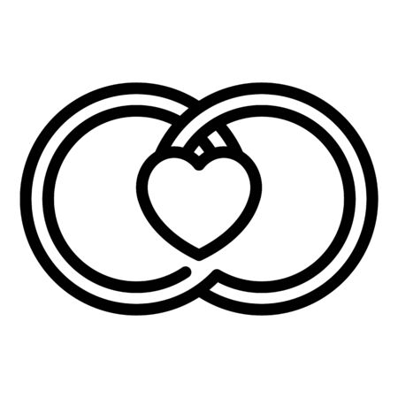 Wedding rings and heart icon. Outline wedding rings and heart vector icon for web design isolated on white background