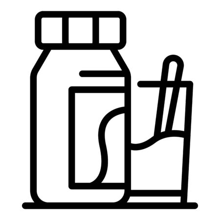 Bottle with potion and glass icon, outline style