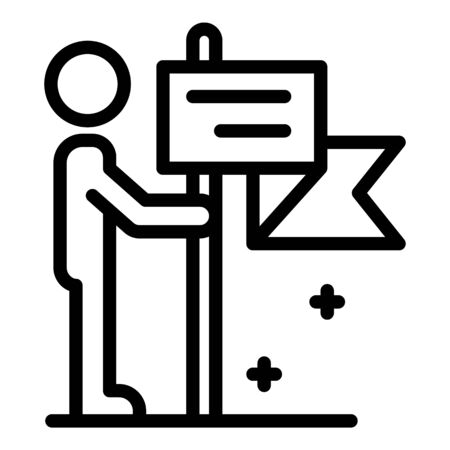 Man with map flag icon, outline style