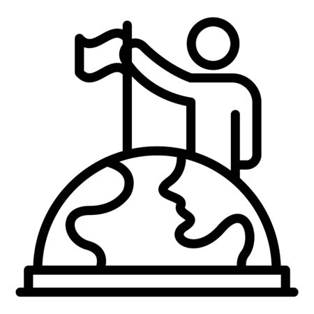 Man puts a flag on a globe icon, outline style 矢量图像