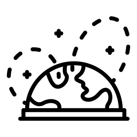 Globe and air routes icon, outline style