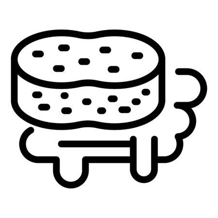 Sponge and dishwashing liquid icon, outline style