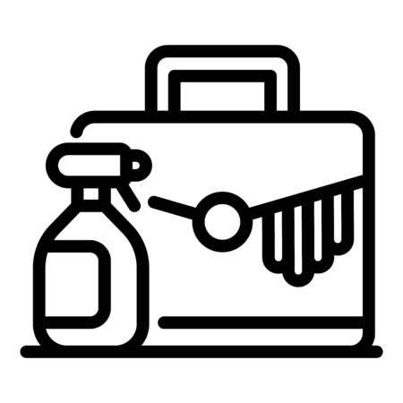 Leather cleaning spray icon, outline style