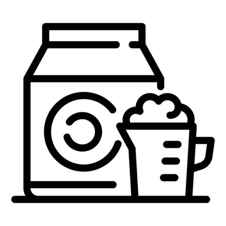 Powder for washing machine icon, outline style