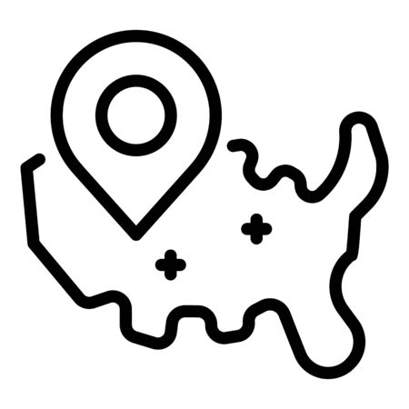 GPS tag on the map icon, outline style