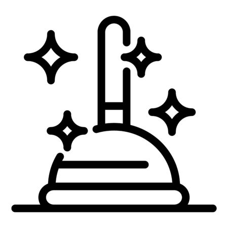 Cleaning with plunger icon, outline style Illustration