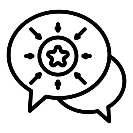 Chat bubbles and star icon, outline style