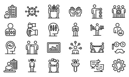 Personal traits icons set, outline style Illustration