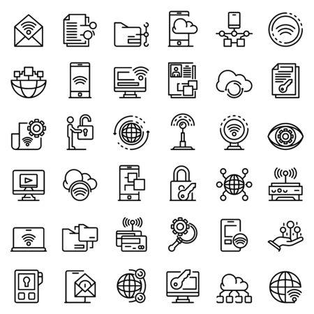 Remote access icons set, outline style Ilustración de vector