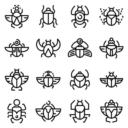 Scarab beetle icons set, outline style