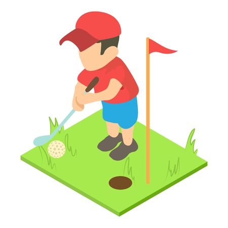 Golf player icon. Isometric illustration of golf player vector icon for web Vettoriali