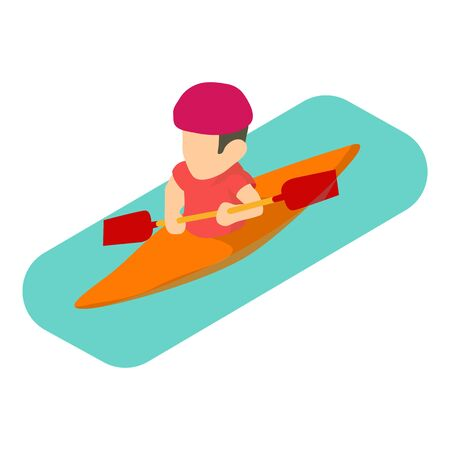 Kayaker man icon. Isometric illustration of kayaker man vector icon for web Ilustrace