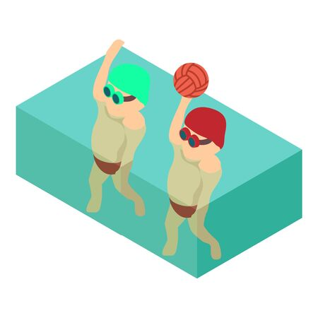 Waterpolo player icon, isometric style Illustration