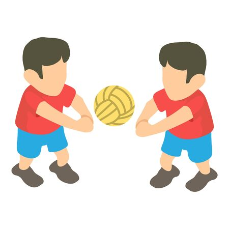 Volleyball player icon, isometric style