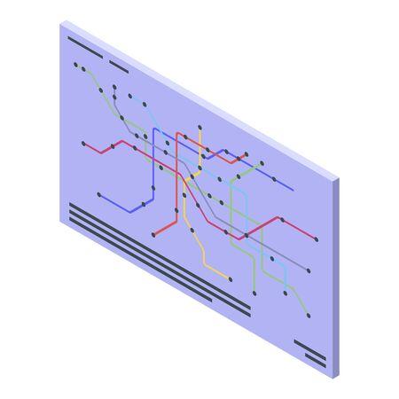 Metro map icon, isometric style Ilustração