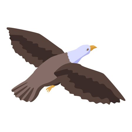 Flying eagle icon, isometric style