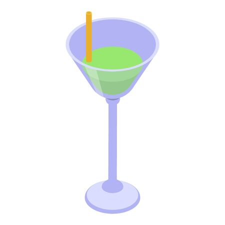 Green cocktail icon, isometric style Illustration