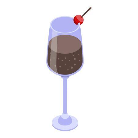 Soda cocktail icon, isometric style