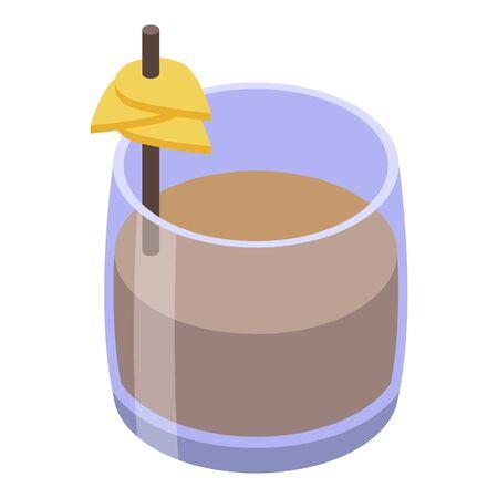 Whiskey glass icon, isometric style