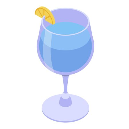 Beach cocktail icon, isometric style