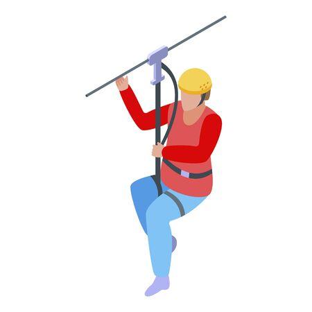 Adventure zip line icon, isometric style Vectores