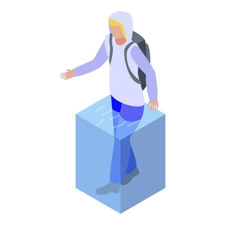 Man in water flood icon, isometric style Ilustración de vector