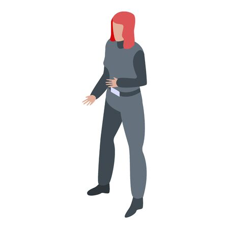 Woman superhero icon, isometric style