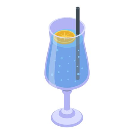 Cocktail icon. Isometric of cocktail vector icon for web design isolated on white background 向量圖像