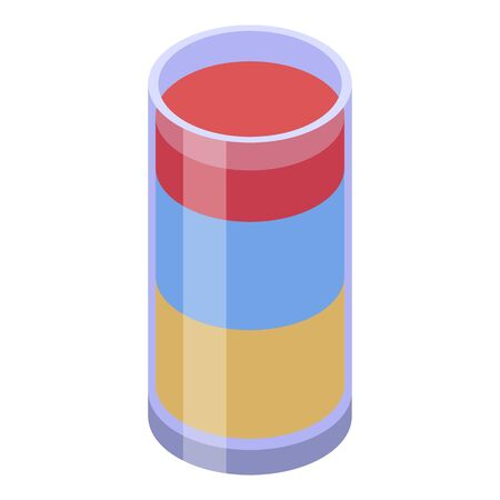 Cocktail summer icon, isometric style