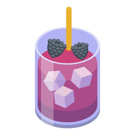 Berry cocktail icon, isometric style