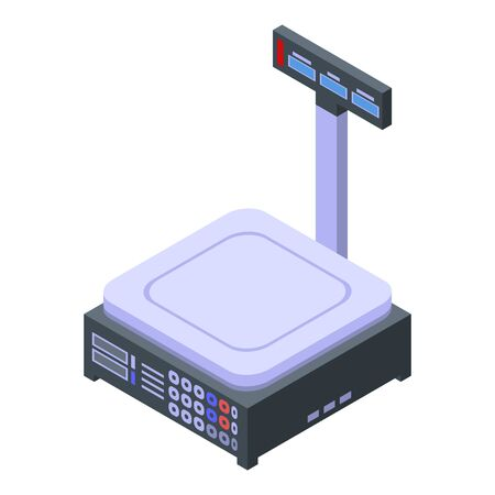 Digital vegetables scales icon, isometric style