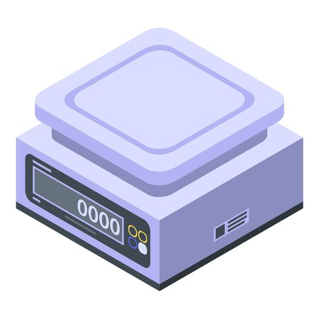 Electronic weigh scales icon, isometric style
