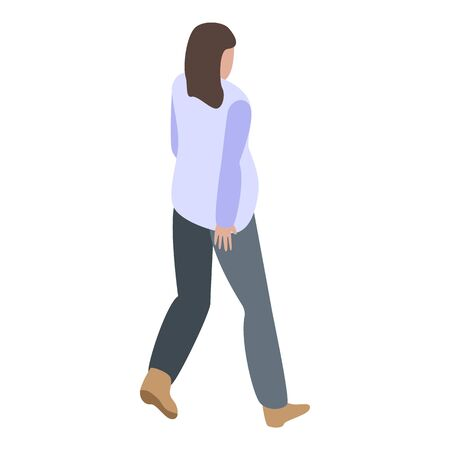 Walking pregnant woman icon, isometric style Vectores