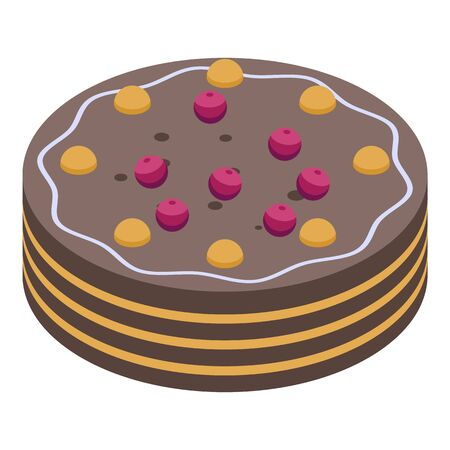 Homemade cake icon, isometric style