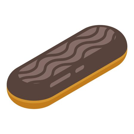 Chocolate eclair icon. Isometric of chocolate eclair vector icon for web design isolated on white background Illustration