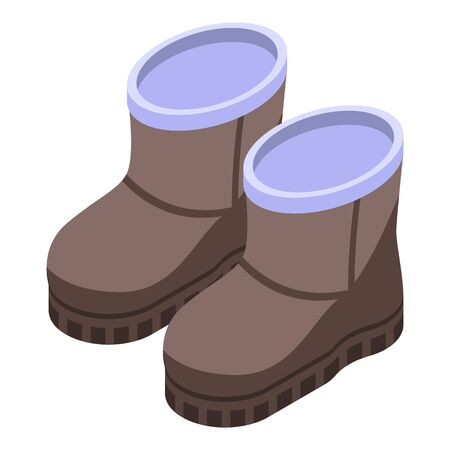 Leather boots icon, isometric style