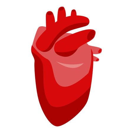 Human heart icon. Isometric of human heart vector icon for web design isolated on white background Illustration