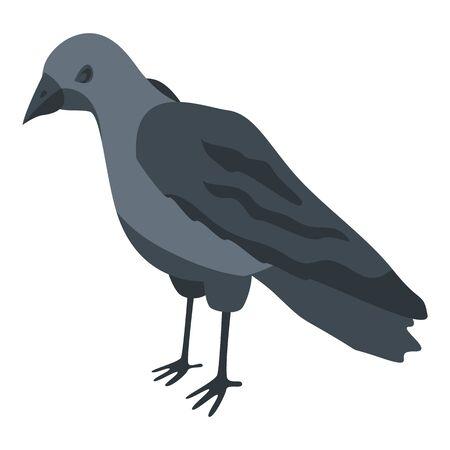 Black crow icon, isometric style