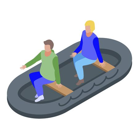 People in rescue boat icon, isometric style