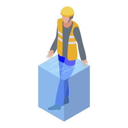 Rescue man flood icon, isometric style