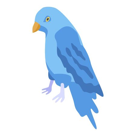 Blue parrot icon. Isometric of blue parrot vector icon for web design isolated on white background Illustration