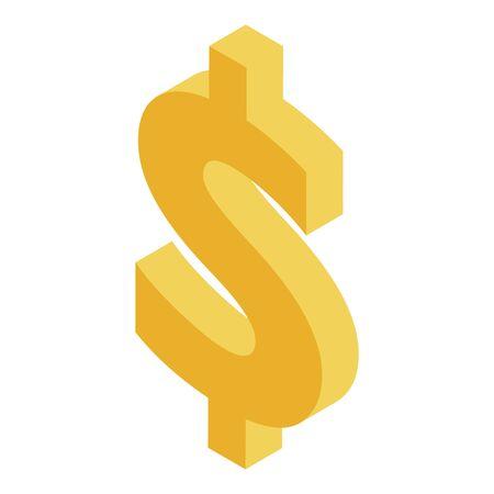 Dollar sign icon, isometric style Ilustrace